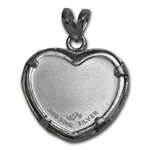 1/10 oz Silver Butterfly Pendant (Diamond Cut - Heart Bezel)